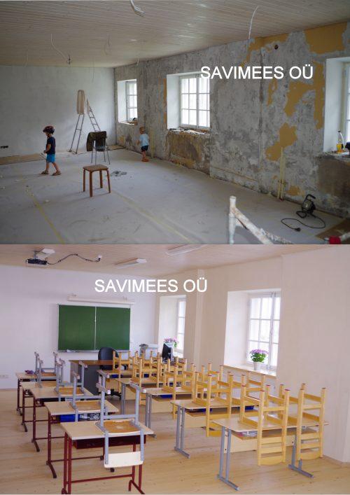 Mooste põhikooli algklass ennem ja pärast: välissein soojustatud rooplaadiga, seinad krohvitud lubikrohviga, värvitud lubivärviga.