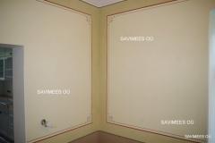 Taastatud maalingud. Seinad krohvitud lubikrohviga, pahteldatud lubipahtliga, värvitud lubivärviga.