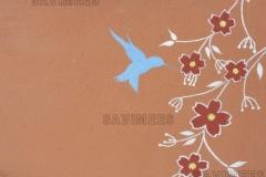 Kaseiinvärviga värvitud pilt punasel savikrohvil
