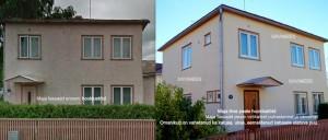 Maja fassaad ennem ja pärast puhastamine vetikatest, värvimine silikaatvärviga-001